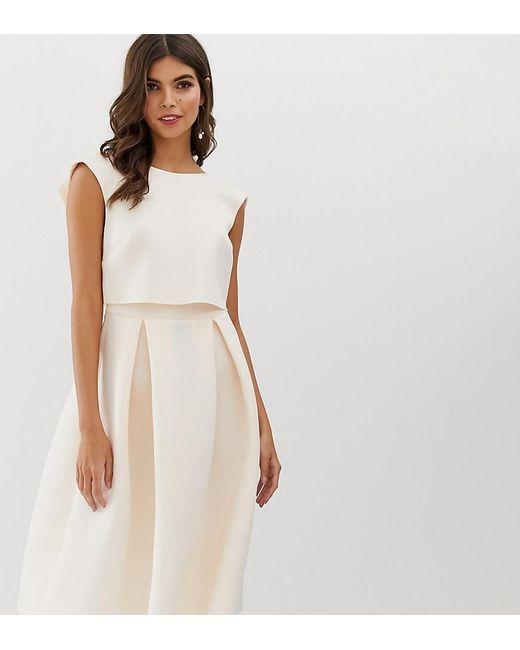 d787bef74272 ASOS - Pink Fold Back Crop Top Midi Prom Dress - Lyst ...
