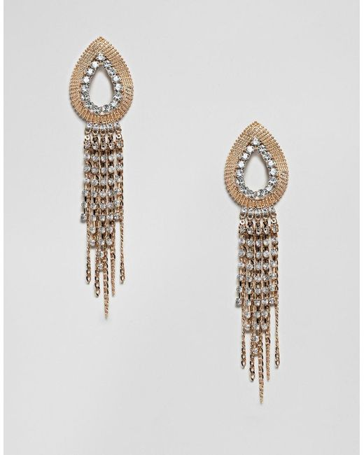 ASOS - Metallic Earrings With Open Teardrop Design And Crystal Strands In Gold - Lyst