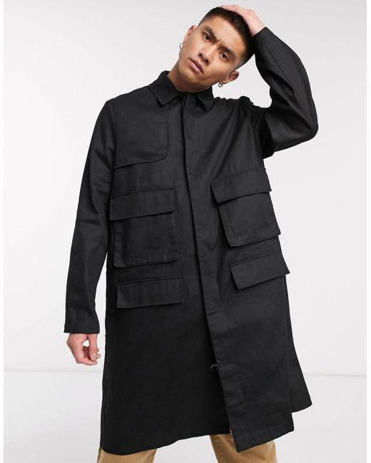 Черный Свободный Тренч С Карманами В Стиле Милитари ASOS для него, цвет: Black