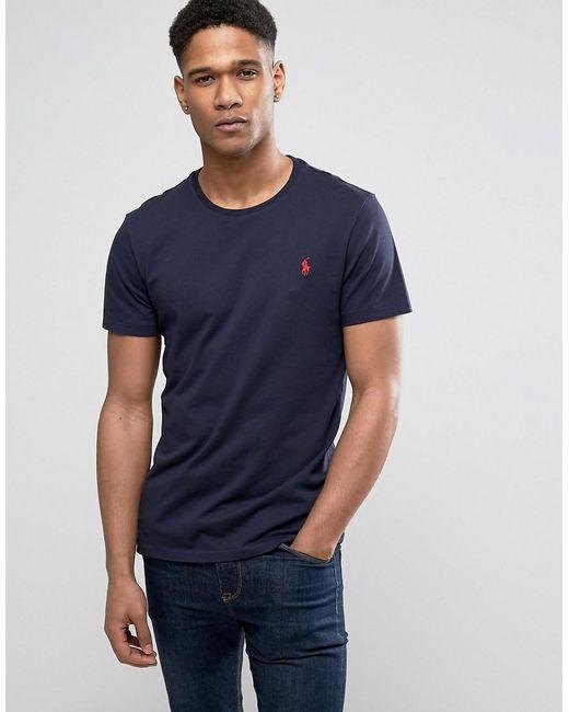 Polo Ralph Lauren | Blue T-shirt With Crew Neck In Navy for Men | Lyst