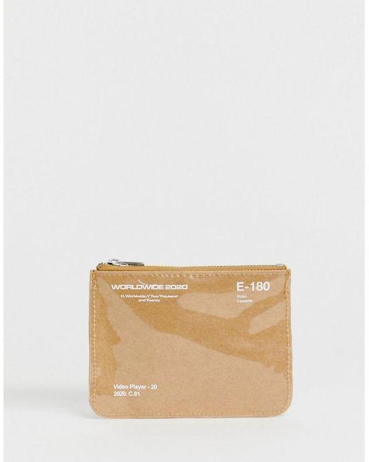 ASOS Natural Zip Around Wallet In Beige With Plastic for men