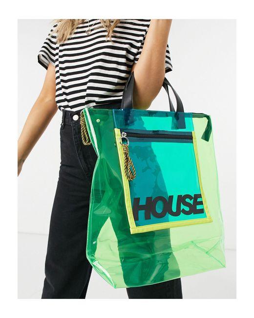 Зеленая Прозрачная Сумка-тоут С Молнией -зеленый Цвет House of Holland, цвет: Green