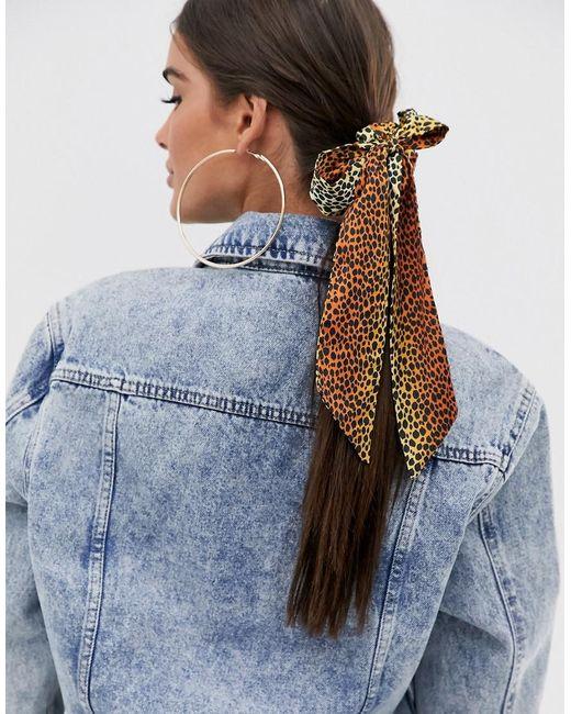 ASOS Multicolor Bow Hair Scarf In Animal Print