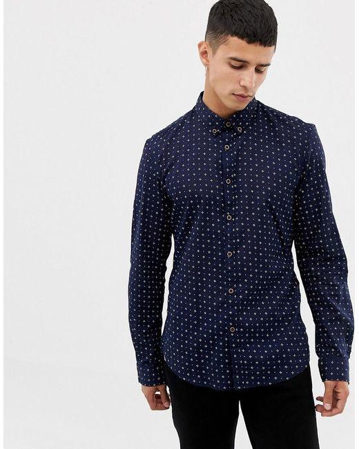 Tom Tailor Overhemd Met Lange Mouwen En Fijne Print In Marineblauw in het Blue voor heren