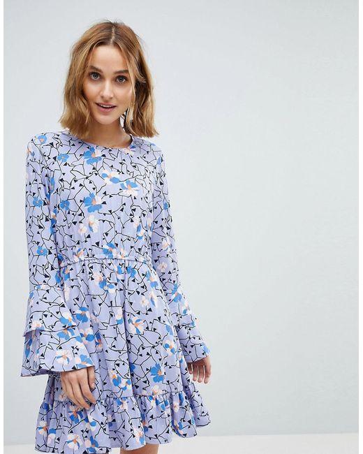 5aba4f8f4 Vero Moda - Floral Mini Dress With Ruffle Sleeve Detail In Purple - Lyst ...