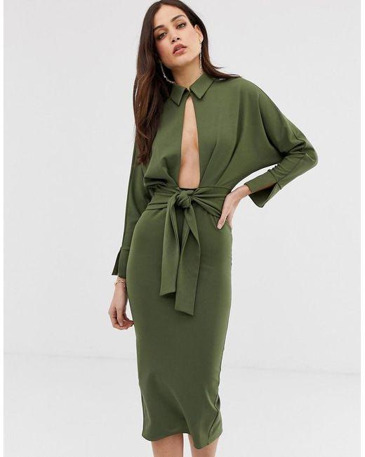Vestido midi con camisa cruzada de manga larga ASOS de color Green