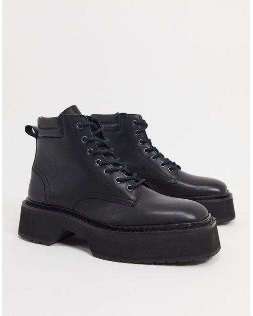 Черные Глянцевые Ботинки Из Кожи На Шнуровке С Массивной Подошвой ASOS для него, цвет: Black