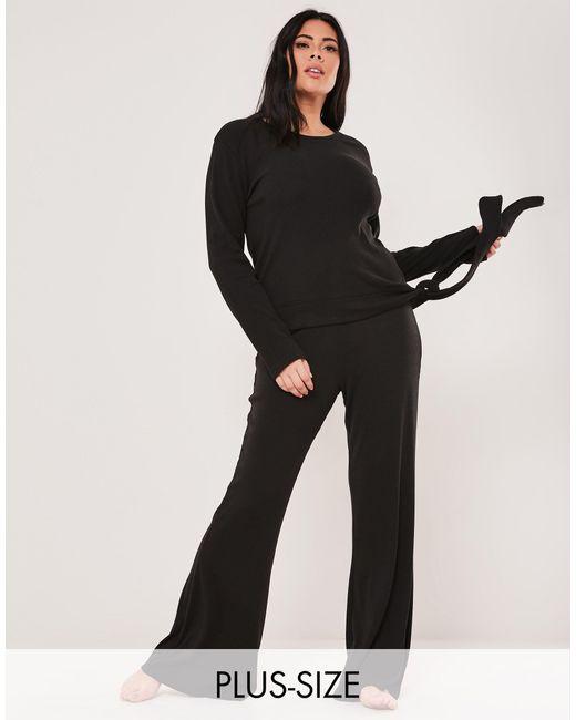 Комплект Одежды Для Дома Из Футболки И Расклешенных Брюк Черного Цвета -черный Цвет Missguided, цвет: Black