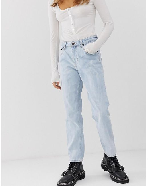 Cheap Monday Blue Mom Jeans With Cropped Leg With Organic Cotton