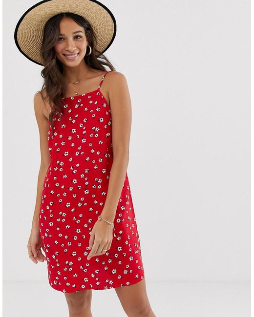 88a64016c9b ... ASOS - Red Scoop Back Shift Mini Sundress In Ditsy Floral Print - Lyst