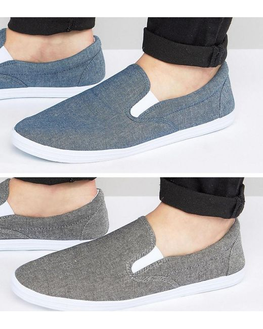 ASOS   Slip On Plimsolls In Black And Blue Chambray 2 Pack Save for Men   Lyst