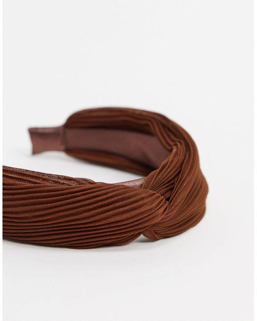 Коричневый Плиссированный Обруч ASOS, цвет: Brown