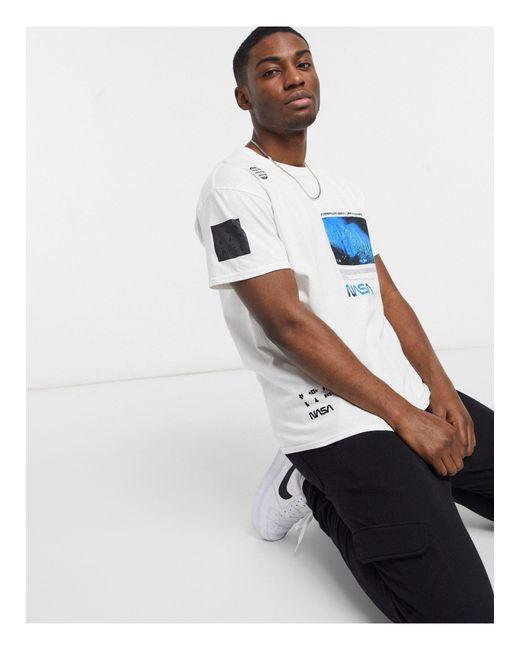 New Look White Oversized Nasa Print T-shirt for men