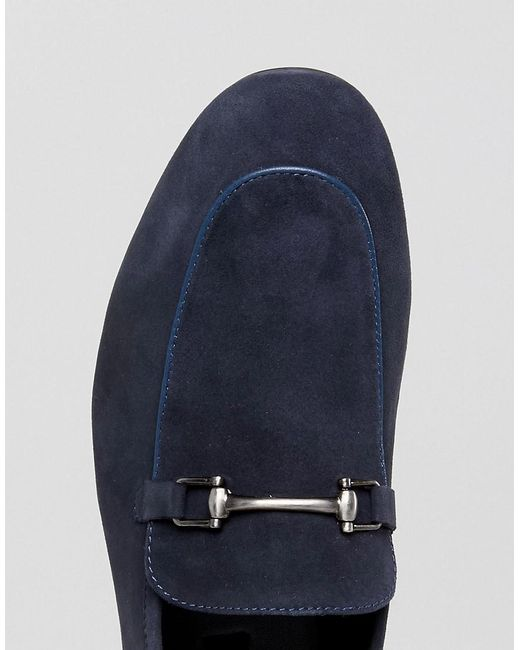 Dune Bar Loafers In Navy Suede AnhRttrv