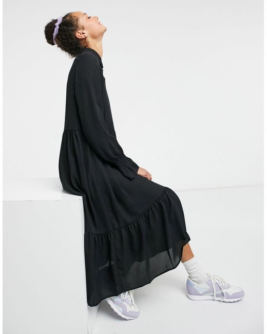 Черное Свободное Платье Миди Из Переработанных Материалов Parly-черный Monki, цвет: Black