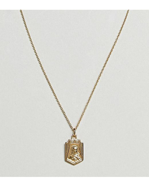 ASOS - Metallic Gold Plated Sterling Silver Vintage Style Icon Pendant Necklace - Lyst