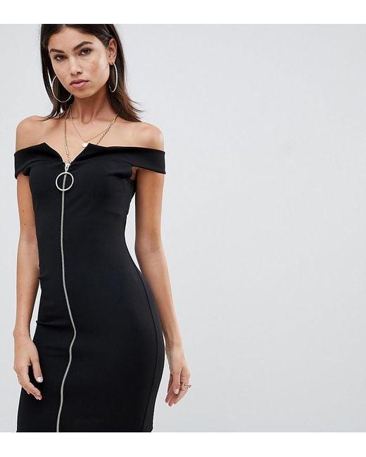 Missguided - Black Bardot Zip Front Dress - Lyst