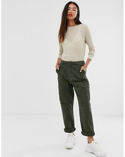 ONLY Green Cargo Utility Trousers