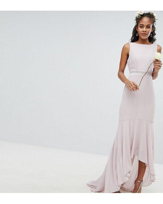 Tfnc London Brown Wedding Bow Back Maxi Dress With High Low Hem Lyst