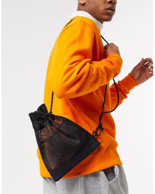 Черная Сетчатая Сумка Через Плечо На Затягивающемся Шнурке ASOS для него, цвет: Multicolor
