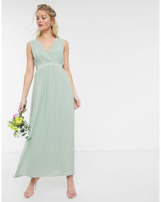 Y.A.S Green Pleated Maxi Dress With Deep V Neck