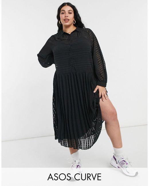 ASOS DESIGN Curve - Vestito camicia midi a pieghe nero a righe con bottoni di ASOS in Black