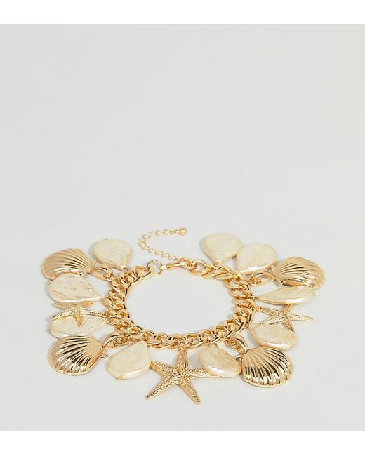 ASOS - Metallic Asos Design Curve Exclusive Bracelet With Shell And Pearl Charms In Gold - Lyst