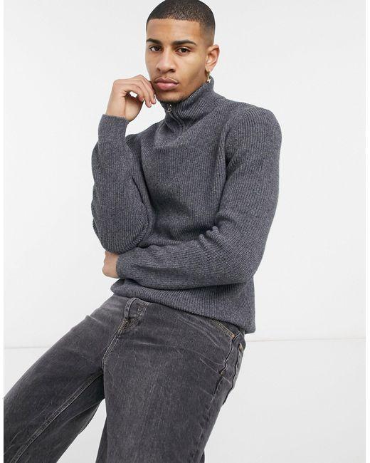 Серый Джемпер Из Органического Хлопка С Воротом На Молнии Knowledge Cotton Apparel для него, цвет: Gray