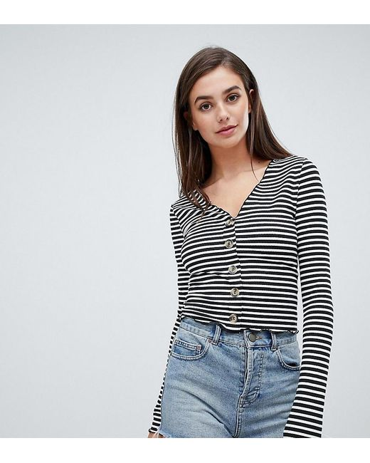 ASOS Blue Asos Design Tall V Neck Top In Rib With Button Front And Long Sleeve In Stripe