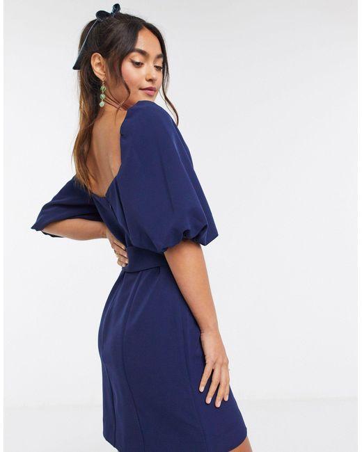 Темно-синее Платье Мини С Поясом И Рукавами-фонариками -темно-синий Forever New, цвет: Blue