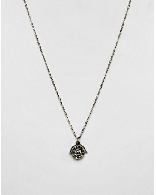ASOS DESIGN - Metallic Necklace With Roman Coin Style Spinner In Burnished Gold Tone for Men - Lyst