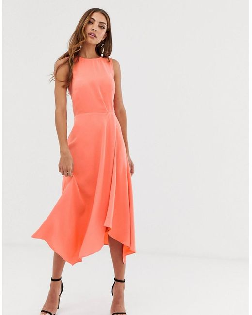2db6ee83c58 Warehouse - Red Midi Dress With Tie Back In Coral - Lyst ...