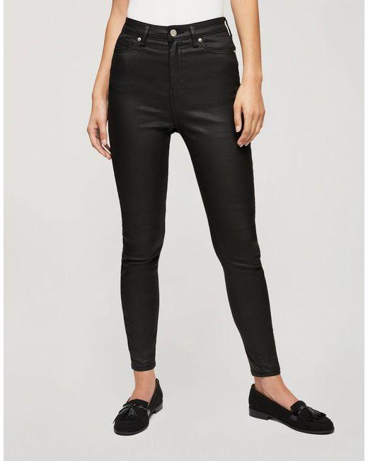 Miss Selfridge Black Lizzie Coated High Waist Skinny Jeans