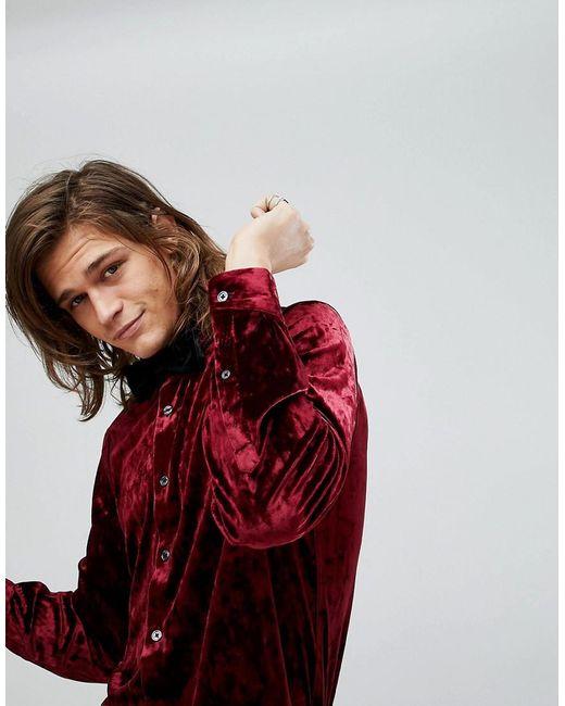 Asos Regular Fit Crushed Velvet Shirt In Burgundy In Red