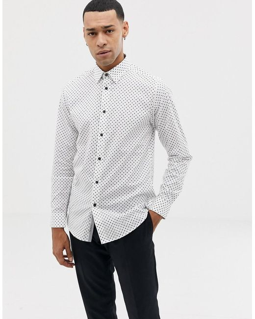 3e7a3b0f1bac Ted Baker Shirt With Dot In White in White for Men - Lyst