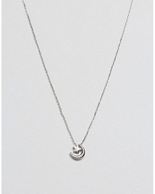 Skinnydip London | Metallic Moon And Stars Silver Necklace | Lyst