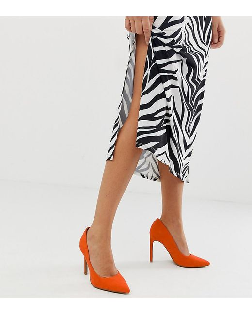1cc3489d760 Women's Red Porto Pointed High Heeled Court Shoes In Tangerine