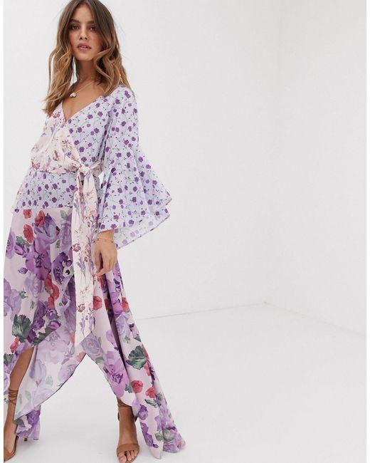 White Sand Asymmetrische Midaxi-jurk Met Contrasterende Ruches in het Purple