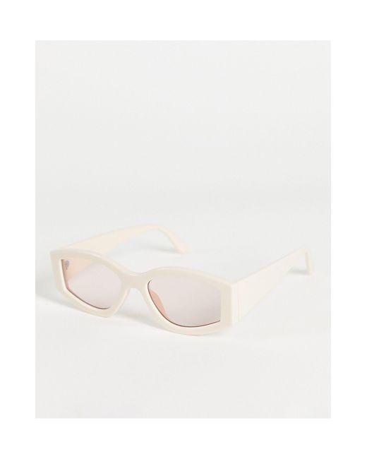 Овальные Солнцезащитные Очки В Массивной Бежевой Оправе ASOS, цвет: White