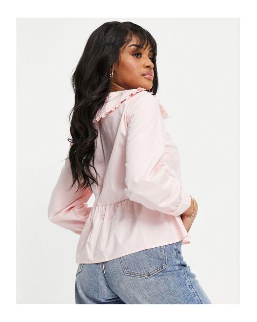 Светло-розовый Лонгслив С Воротником -розовый Цвет New Look, цвет: Pink
