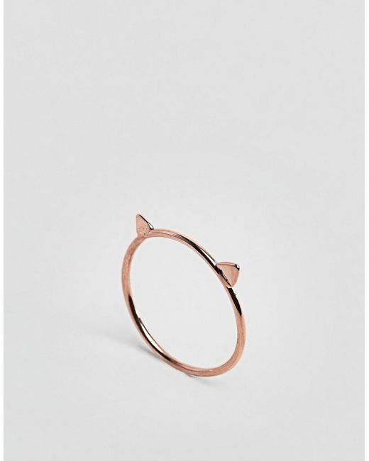 ASOS | Metallic Rose Gold Plated Sterling Cat Ring | Lyst