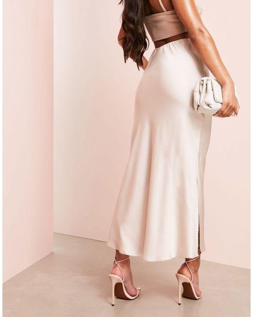 Розовая Атласная Юбка Миди С Разрезами Asos Luxe-кремовый ASOS, цвет: White