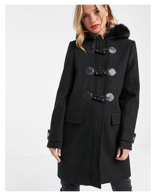 ASOS Black Duffle Coat With Faux Fur Trim