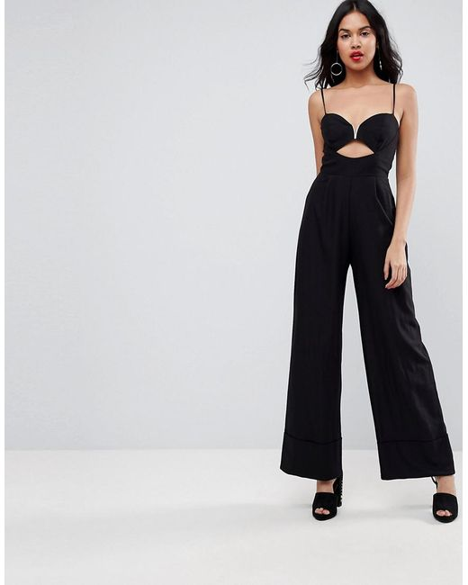 0cde1abfd99 ASOS - Black Tailored Jumpsuit With Cut Out And Wide Leg - Lyst ...