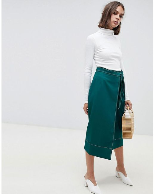ASOS - Green Tailored Midi Wrap Skirt With Topstitch - Lyst