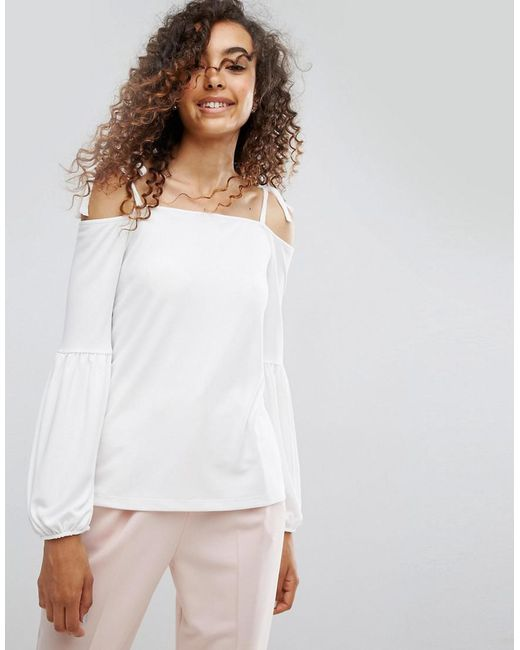 ASOS - White Asos Top In Crepe With Off Shoulder And Pretty Bell Sleeve - Lyst