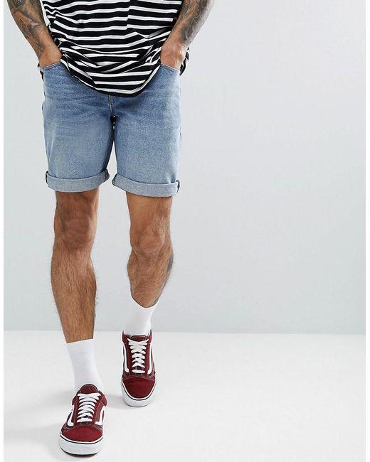 ASOS DESIGN - Blue Denim Shorts In Slim Mid Wash for Men - Lyst