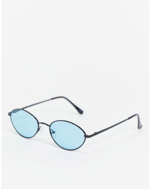 ASOS Black Turquoise Lens Round Sunglasses for men