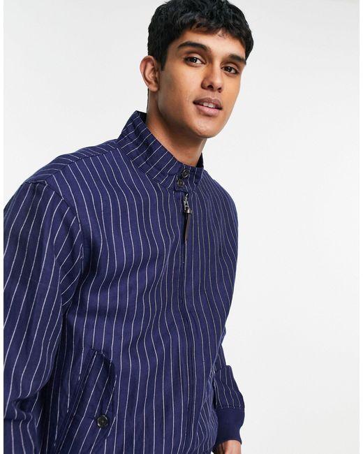 Темно-синяя Льняная Куртка Харрингтон С Логотипом В Полоску Baracuda-голубой Polo Ralph Lauren для него, цвет: Blue