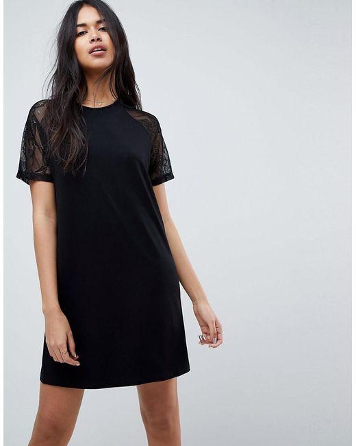ASOS DESIGN - Black Asos T-shirt Dress With Lace Raglan Sleeve - Lyst